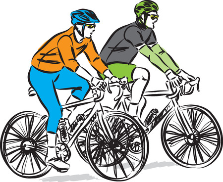 two men driving bikes vector illustration