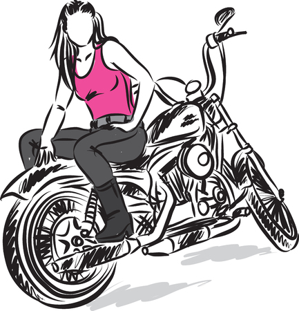 biker girl vector illustration
