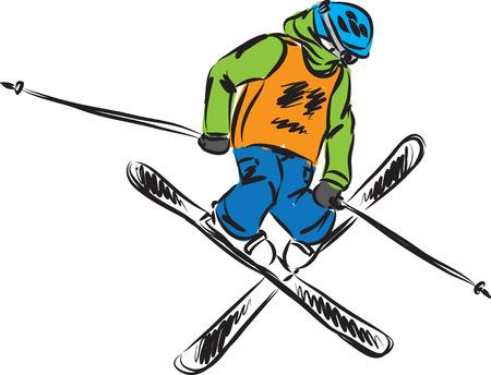 Skiing freestyle jump