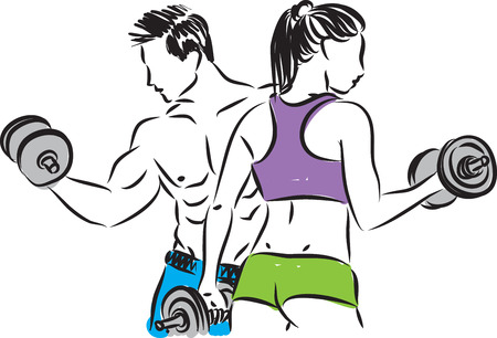 fitness couple man and woman vector illustration
