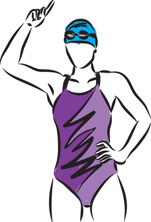 Swimmer girl vector illustration winner gesture on white background.