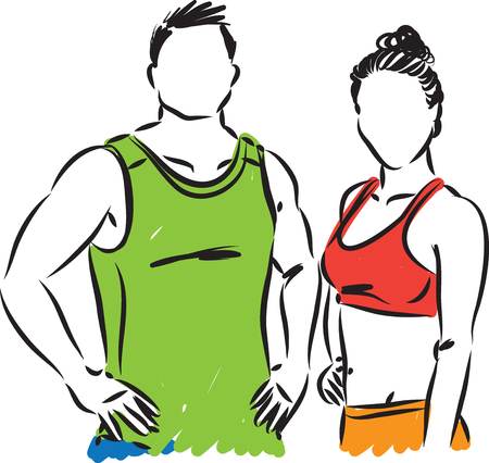 Fitness couple man and girl vector illustration