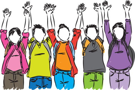 les étudiants heureux se lèvent la main illustration vectorielle
