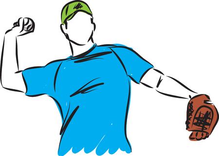 baseball man player vector illustration