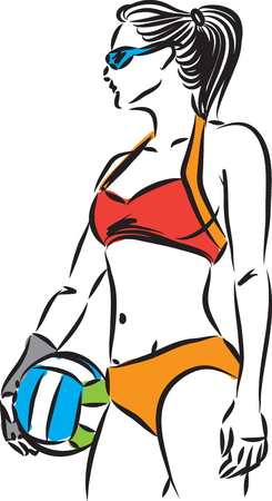 volley beach woman player vector illustration Illustration