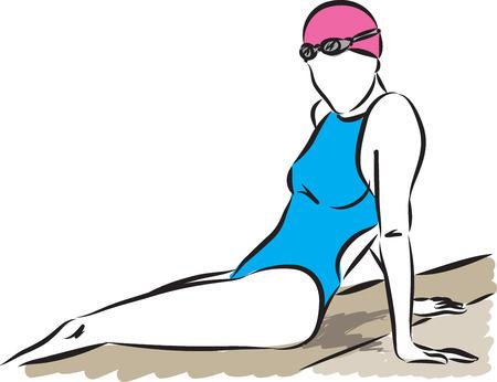 professional swimmer woman resting vector illustration