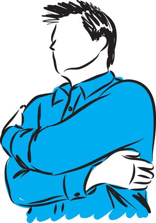 Man hugging himself vector illustration Ilustracja