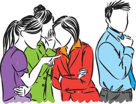 Gossip at work business people vector illustration
