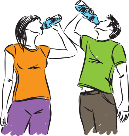 Man and woman fitness drinking water vector illustration