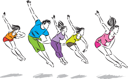 group of dancers vector illustration