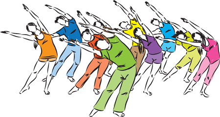 group of fitness people vector illustration