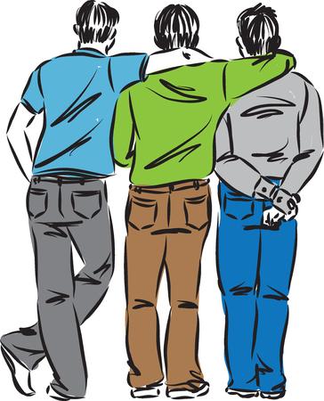 men friends vector illustration