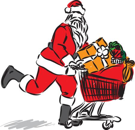 santa claus shopping vector illustration 向量圖像