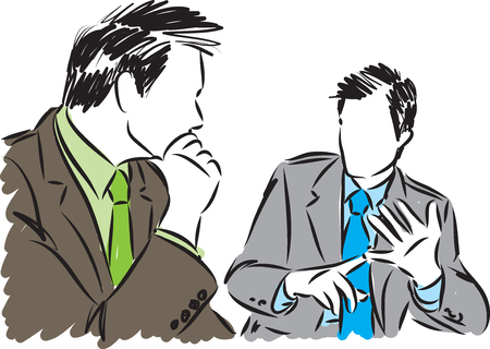Vector illustration of two business men discussing Illustration