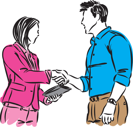 man and woman shaking hands vector illustration
