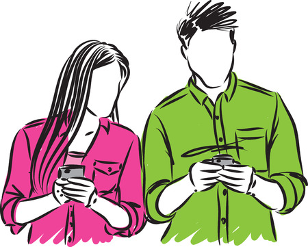 couple man and woman with cellphones vector illustration