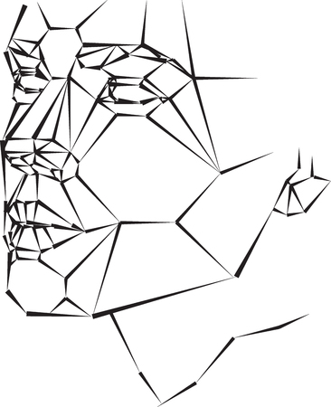 Geometric abstract woman face vector illustration black and white