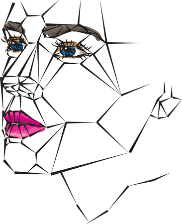 Geometric woman face vector illustration colors