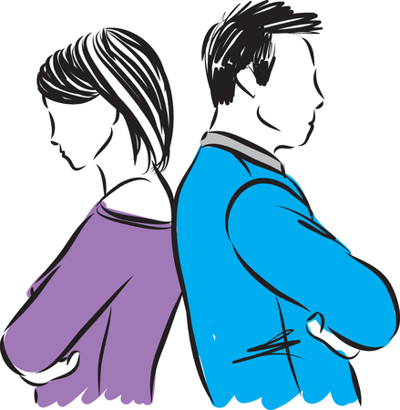 Couple with problems vector illustration Vectores