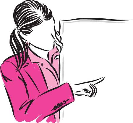 Faceless business woman showing vector illustration. Illustration