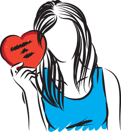 woman with valentine card vector illustration