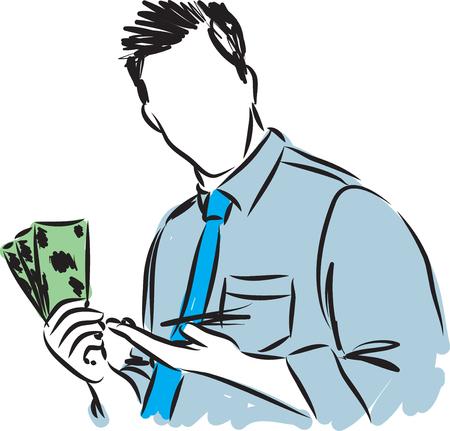 hombre de negocios con los dólares ilustración vectorial