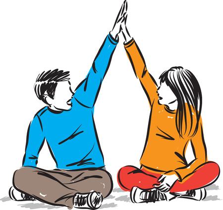 children high five concept vector illustration