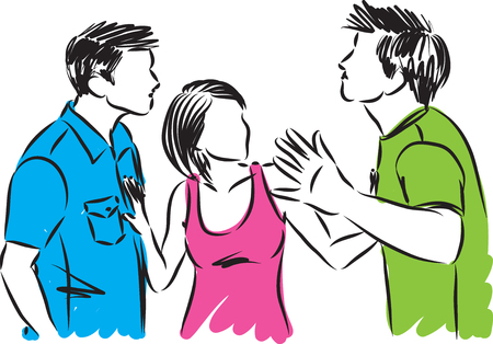 woman with two men fighting vector illustration