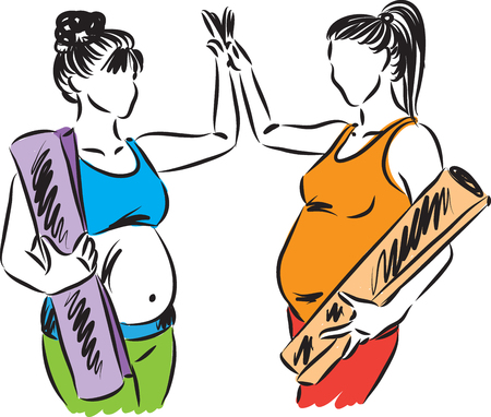 Two pregnant women yoga fitness concept illustration