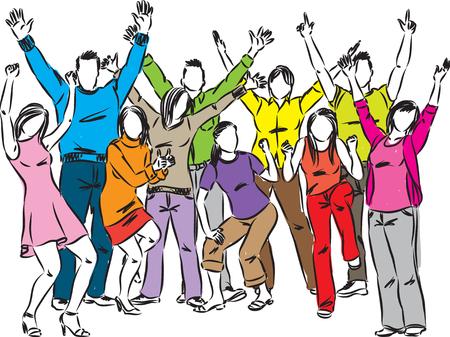 Un feliz grupo de personas celebración ilustración vectorial