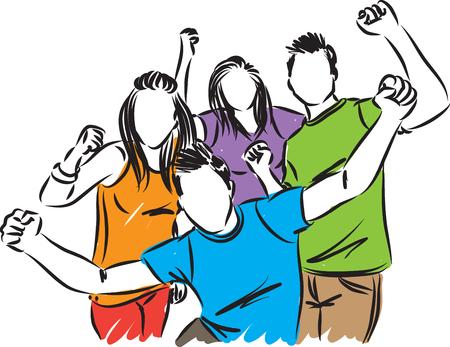 happy people friends vector illustration