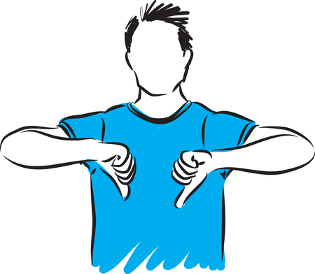 Man with thumbs down vector illustration