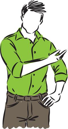 man showing gesture vector illustration 向量圖像