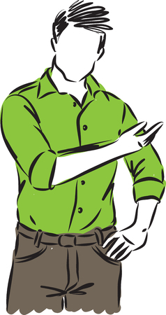 man showing gesture vector illustration Vettoriali