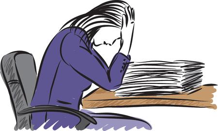Stressed business woman with paper work vector illustration Illusztráció