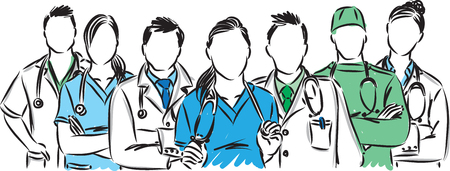 medic staff colored vector illustration isolated on white background. Ilustração