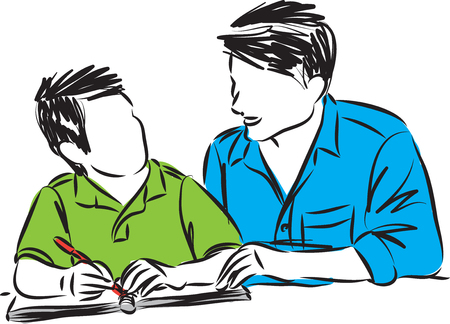 father and son doing homework vector illustration