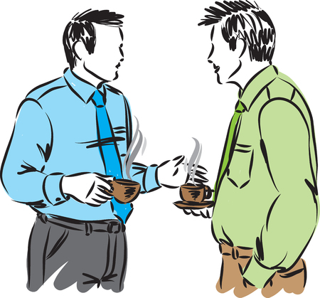 Two business men talking and drinking coffee vector illustration