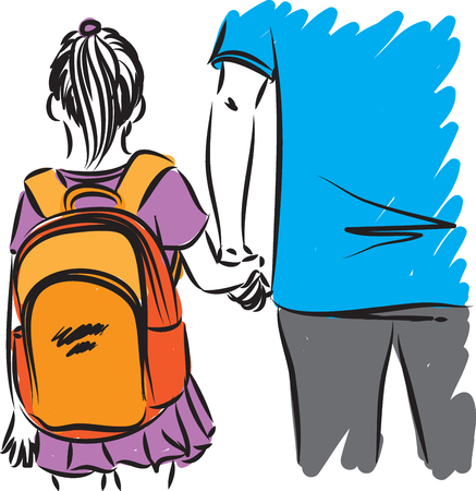 father and daughter going to school vector illustration