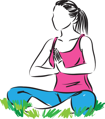 Fitness yoga woman vector illustration 版權商用圖片 - 98668516