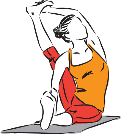 yoga posture woman fitness vector illustration Vettoriali