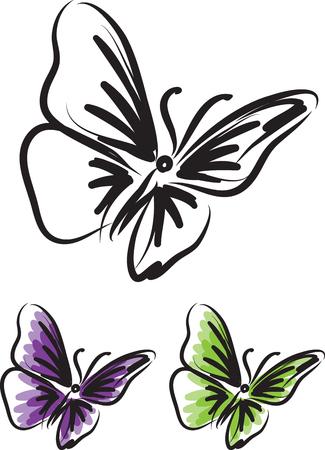 butterfly tattoo vector illustration