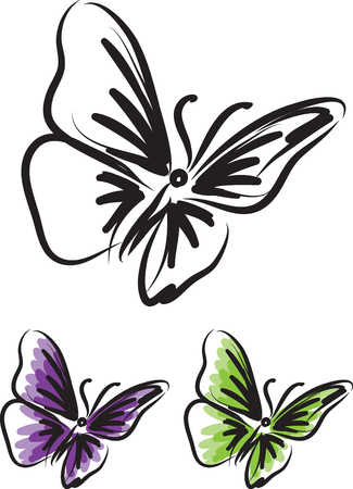 butterfly tattoo vector illustration