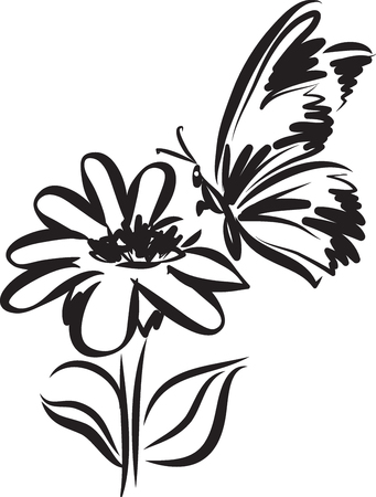 Butterfly tattoo with flower vector illustration