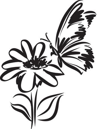 Vlindertatoegering met bloem vectorillustratie Stockfoto - 99184524