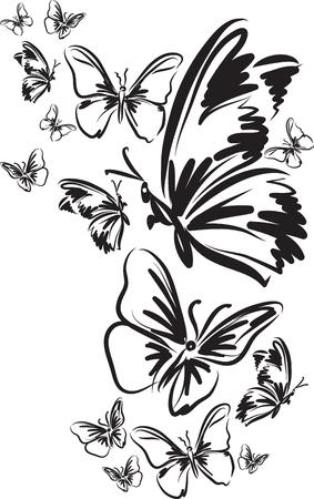 Many butterfly tattoo vector illustration Illustration