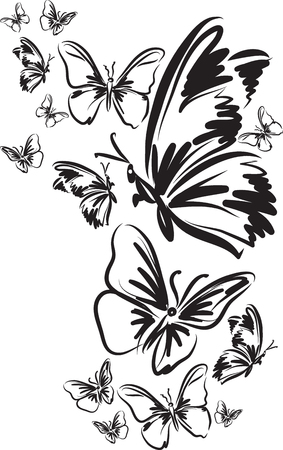 Many butterfly tattoo vector illustration Vectores
