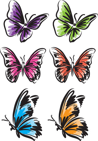 Many color butterfly tattoo vector illustration design.