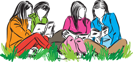 A group of students reading at park vector illustration 일러스트