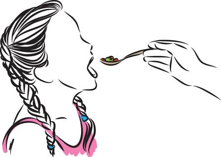 A little girl eating vector illustration isolated on plain background.